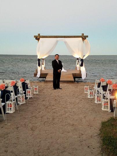 A beach wedding ceremony