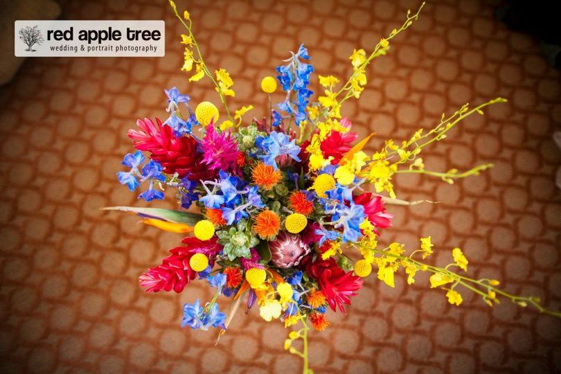 Top view of flower arrangement