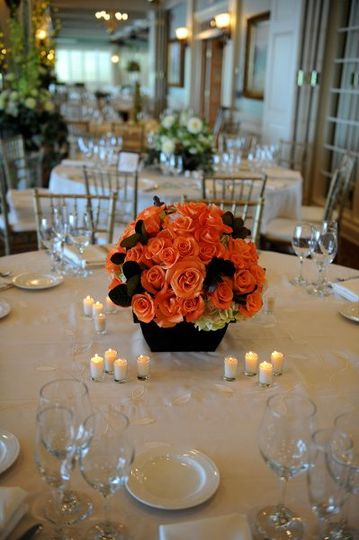 Orange floral table centerpiece