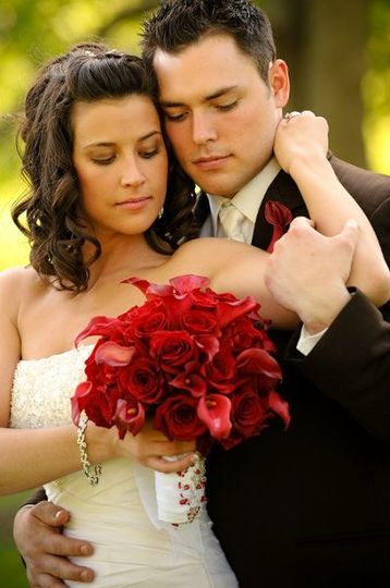 Red bouquet of the bride