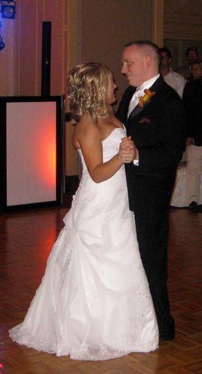 Mr. and Mrs. Darin and Nina Krupski enjoying their first dance at the Desmond. Albany,  New York.