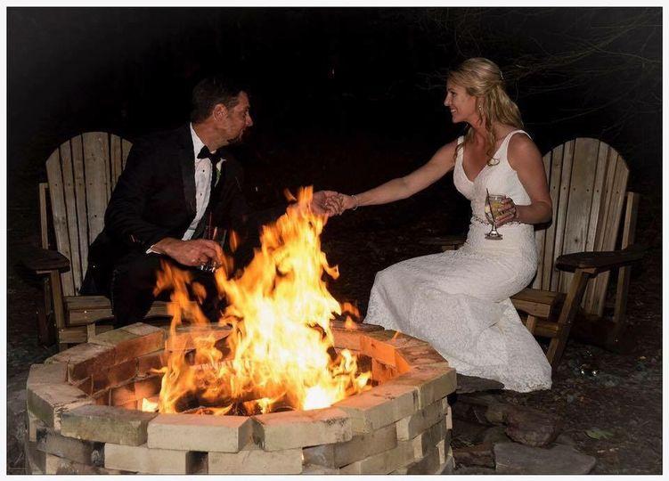 Beside a bonfire