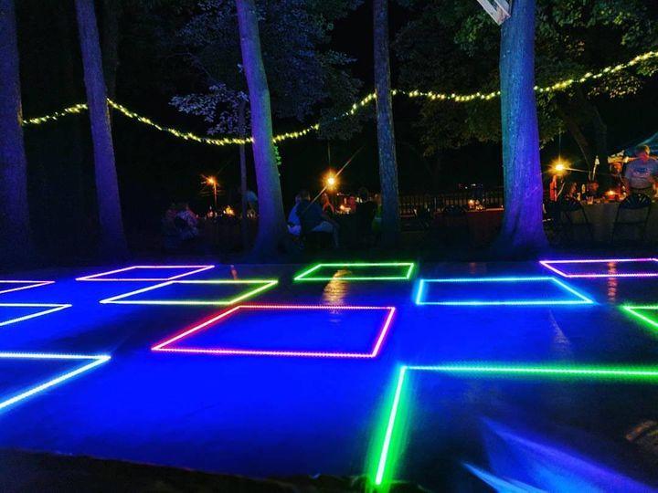 LED dance floor at night