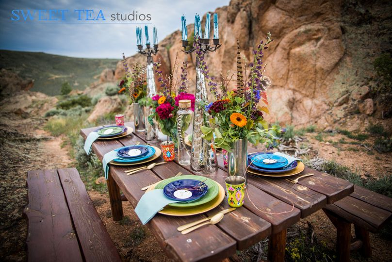 Bright and boho table setting