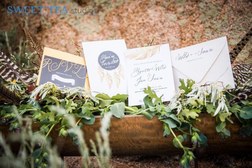 Elegant and gold boho wedding invitation suite