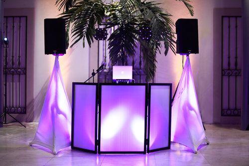 DJ booth and lighting