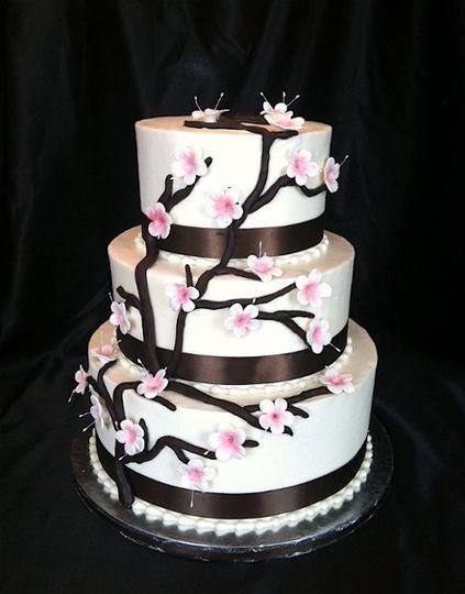 Springtime abounds with delicate gumpaste cherry blossoms that grace dark chocolate fondant...