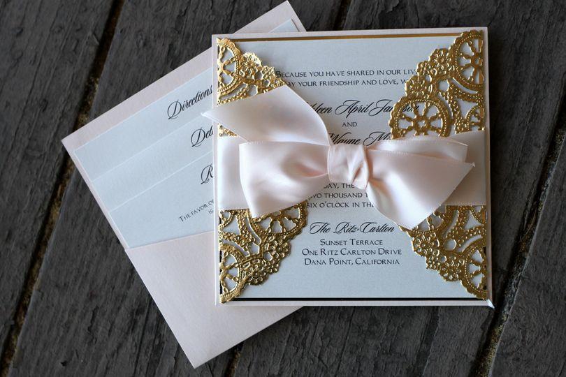 Invitation design studio invitations tustin ca weddingwire 800x800 1482961015241 pocket card square gold doily2 stopboris Choice Image