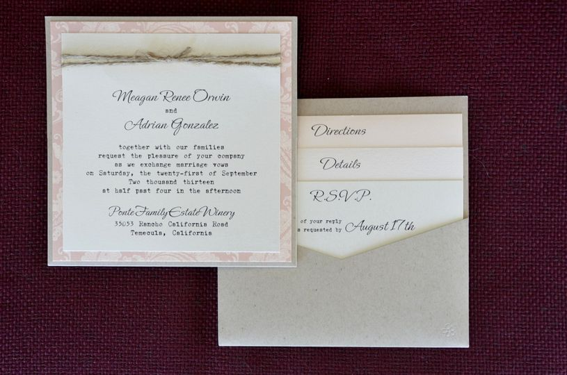 Square pocket card with twine