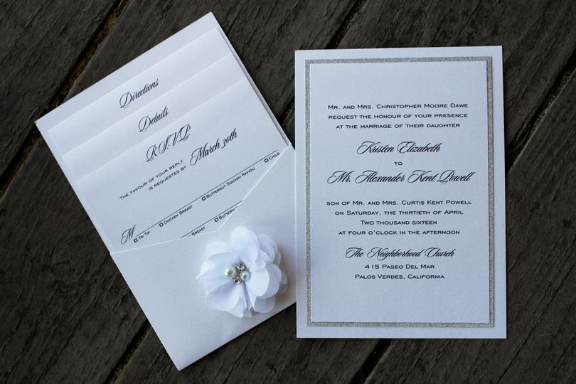 Rectangular pocket card with organza flower