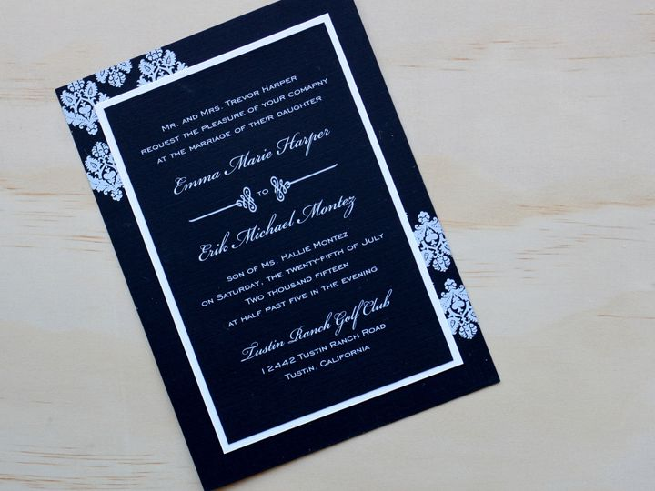 Tmx 1482960757938 Flat Card White Ink Emma  Eric Tustin, California wedding invitation