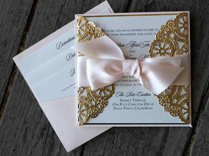 Tmx 1482961015241 Pocket Card Square Gold Doily2 Tustin, California wedding invitation