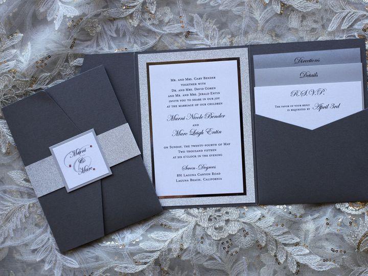 Tmx 1482961990449 Pocket Fold Sig Side Portrait Marni  Marc Tustin, California wedding invitation