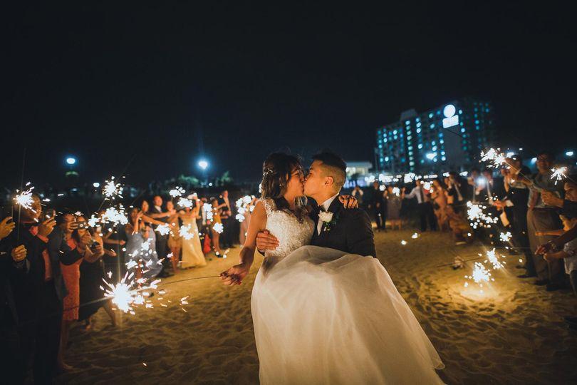 Kissing during sparkler exit
