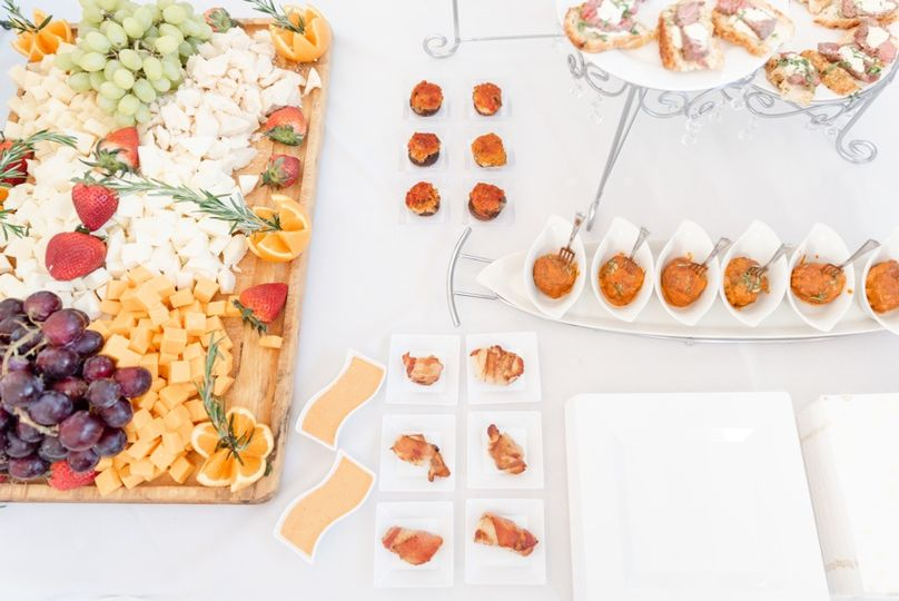 Appetizers for a bridal trunk show