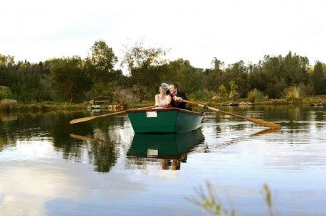 Couple paddling