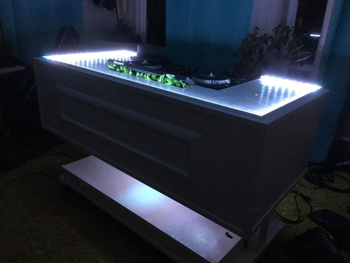 LED lighted DJ booth
