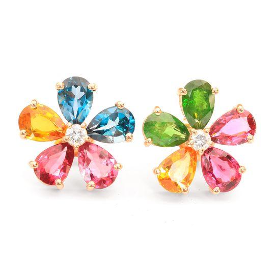 gemstone flower stud earrings 20234 2