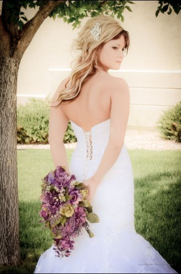 Bride, flowers, bouquet, wedding dress, wife, wedding, lace up