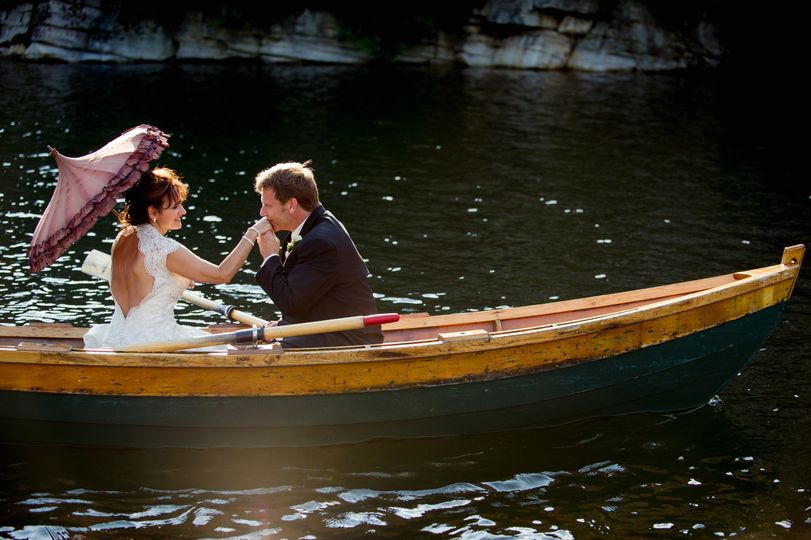 Newlyweds on a boat