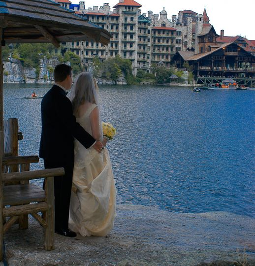 Newlyweds overlooking the river