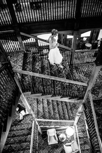 Bride going down the flight of stairs