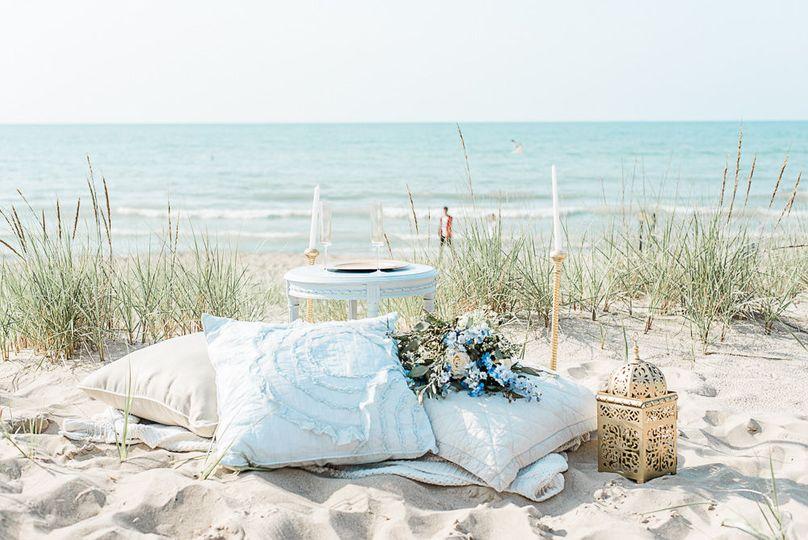Boho wedding bouquet and setup