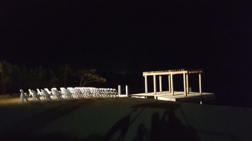 Evening wedding setup