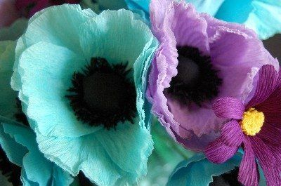 lavender and blue poppy made from paper for an event