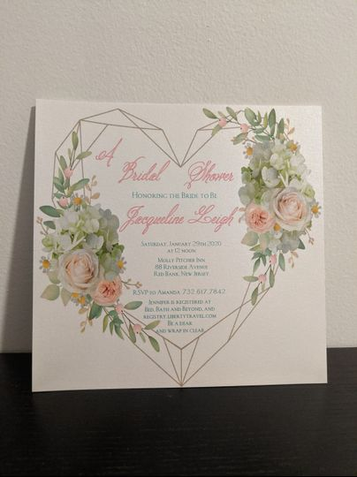 Heart flower invitation