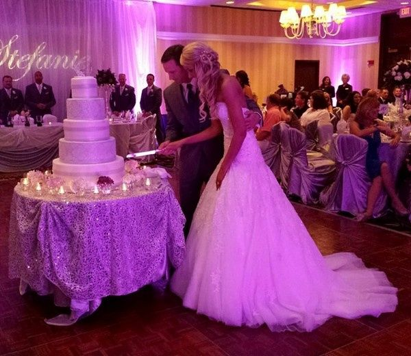 Couple cutting their wedding cake