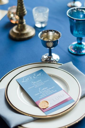 White Ink Menus & Place Cards
