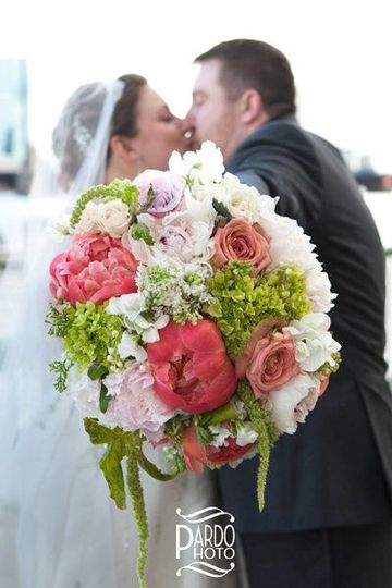 Newlyweds and the bridal bouquet