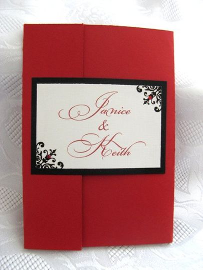 Scarlet Damask Wedding Invitation  This can be yours - customize it with A Little Touch! Visit our...
