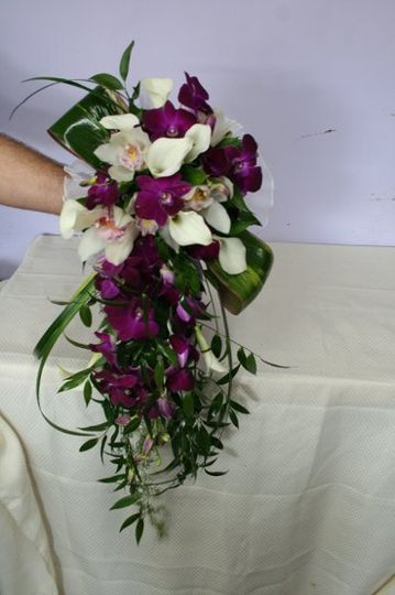Casscading Bridal Bouquet with whtie and purples