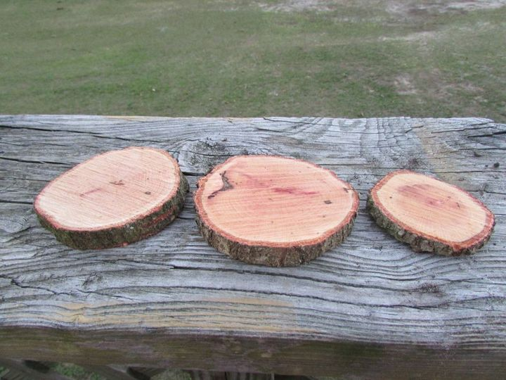 These small cheap slices can be wood burned with table numbers, used as escort cards, favors... the...