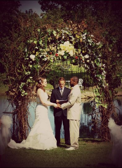 Ceremony arch at abella farms