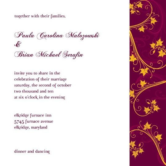 Paula's fall-themed wedding invite.