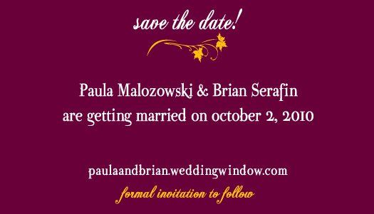 Paula's matching Save the Date
