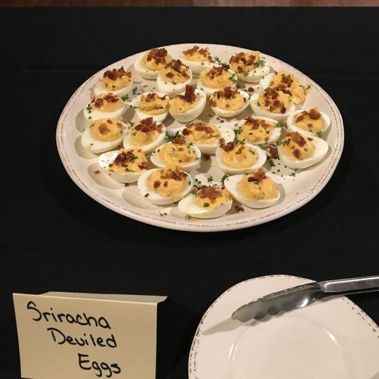 Sriracha Deviled Eggs dish