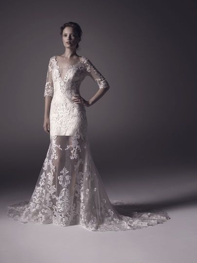 Lace wedding dress with deep neck line