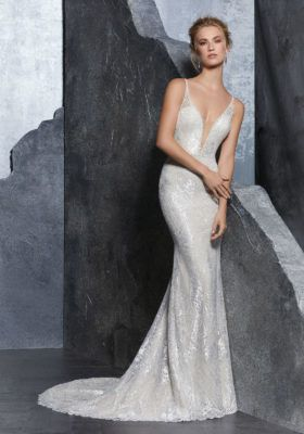 Sleeveless gown with deep neck line