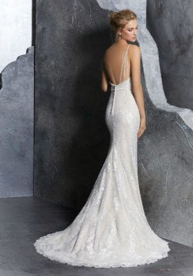 Sleek wedding dress with a low back line