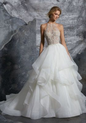Ruffled sleeveless wedding dress