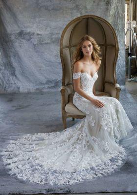 Off-shoulder bridal gown