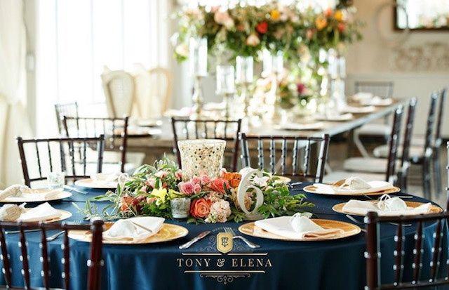Navy blue, ballroom tables