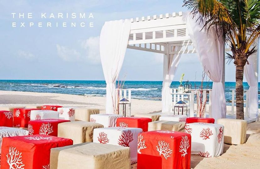 Red and white themed beach wedding