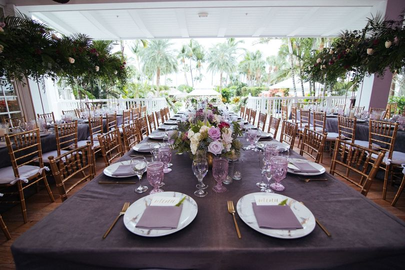 Purple theme table setting
