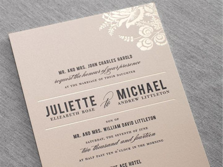 Tmx 1437762637474 Gallerystinsondauphinepressletterpressfoil Ridgefield, New Jersey wedding invitation