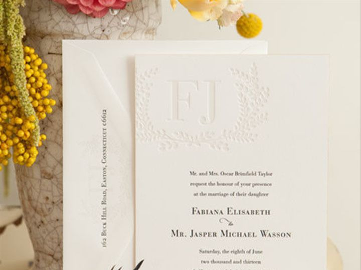 Tmx 1527171246 32b835d86ae14cb1 1437762627024 Gallerycarneros06adauphinepressletterpressedging Ridgefield, New Jersey wedding invitation
